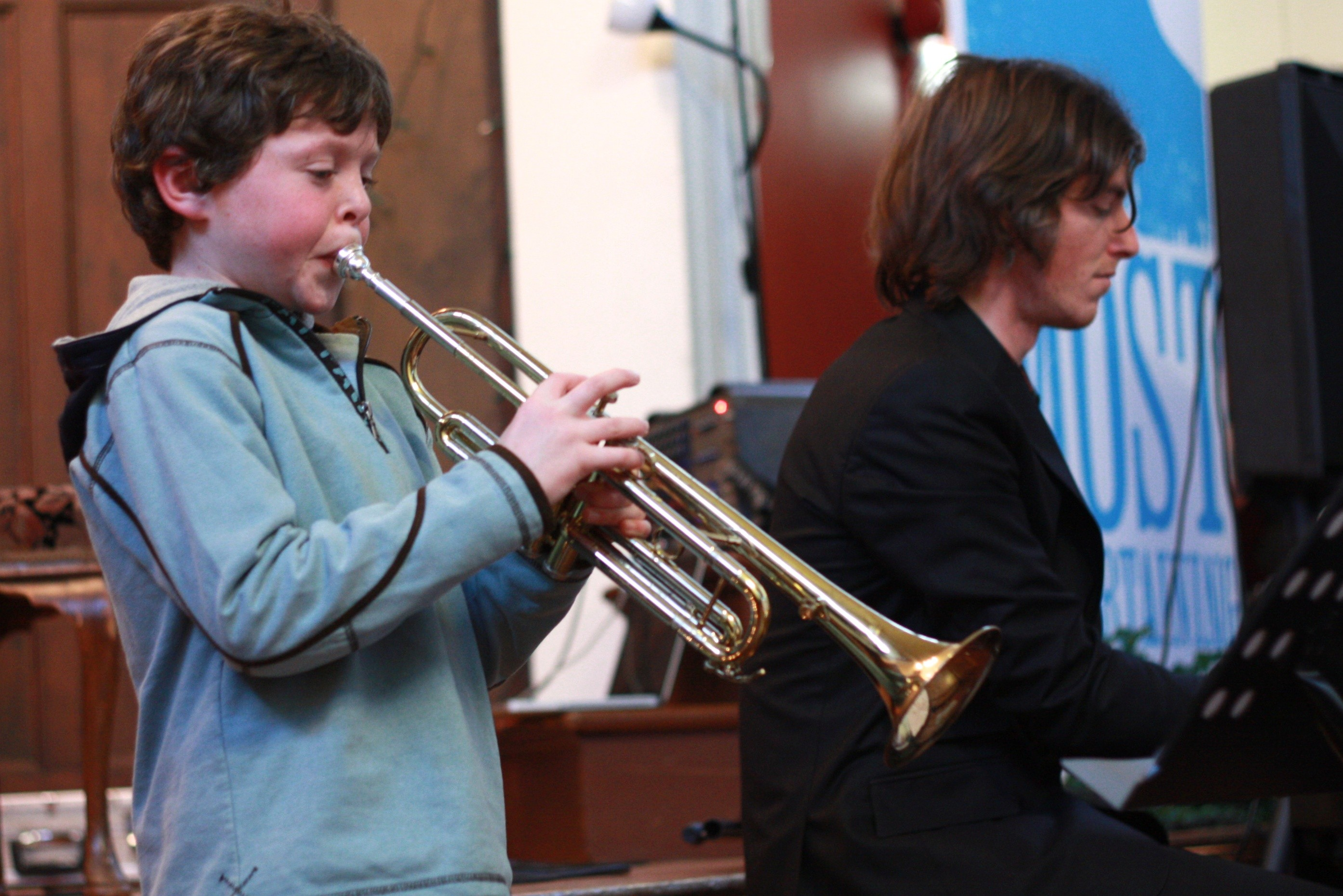 Patrick's debut on trumpet accompanied by Robert on piano; Winter 2011