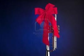 trumpet tied in red ribbon